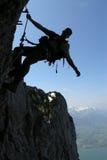 Silhouet van een klimmer Royalty-vrije Stock Afbeelding