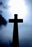 Silhouet van een Kruis Stock Foto