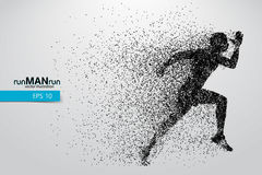 Silhouet van een lopende mens van deeltjes Stock Foto's