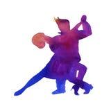 Silhouet van een man en een vrouw het dansen tango Geïsoleerde waterco Stock Fotografie