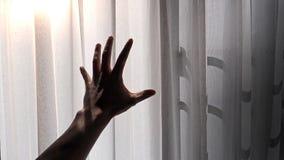 Silhouet van een mannelijke hand die het witte gordijn met het effect van het ochtendzonlicht bereiken royalty-vrije stock afbeelding