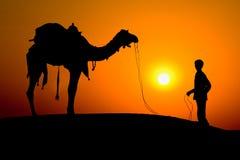 Silhouet van een mens en een kameel Stock Afbeeldingen