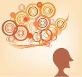 Silhouet van een mens met ideeën Royalty-vrije Stock Afbeelding