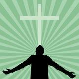 Silhouet van een mens met zijn die gezicht aan God wordt gedraaid vector illustratie