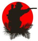 Silhouet van een militair vector illustratie
