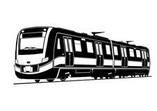 Silhouet van een moderne passagierstrein stock illustratie