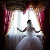 Silhouet van een mooie bruid in huwelijkskleding Royalty-vrije Stock Fotografie