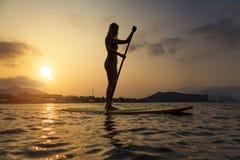 Silhouet van een mooie vrouw op Tribune op Peddelraad Stock Afbeelding