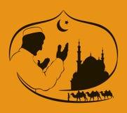 Silhouet van een Moslim die tijdens zonsondergang, Silhouet van een moskee, caravan bidden van kamelen Getrokken hand Stock Afbeelding