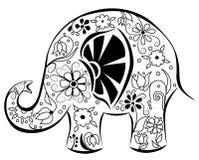 Silhouet van een olifant door bloemen wordt geschilderd die. Stock Afbeelding