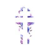Silhouet van een orthodox kruis met de achtergrond van de waterverfwas Stock Foto