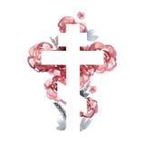 Silhouet van een orthodox kruis met de achtergrond van de waterverfwas Royalty-vrije Stock Foto