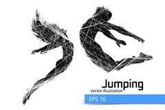 Silhouet van een springend mens en een meisje Stock Afbeelding