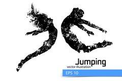 Silhouet van een springend mens en een meisje Stock Foto's