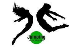 Silhouet van een springend mens en een meisje Stock Afbeeldingen