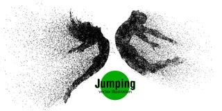 Silhouet van een springend mens en een meisje van deeltjes Stock Foto's