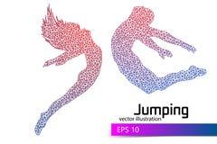 Silhouet van een springend mens en een meisje van driehoek Royalty-vrije Stock Afbeelding