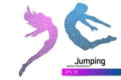 Silhouet van een springend mens en een meisje van driehoek Stock Fotografie