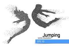 Silhouet van een springend mens en een meisje van driehoek Stock Afbeeldingen