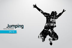 silhouet van een springende mens Royalty-vrije Stock Afbeeldingen