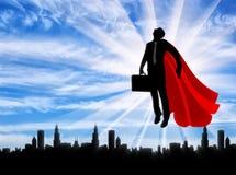 Silhouet van een supermanzakenman met een aktentas stock illustratie