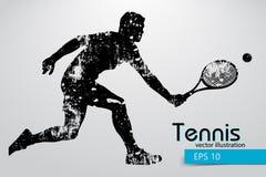 Silhouet van een tennisspeler Royalty-vrije Stock Afbeelding
