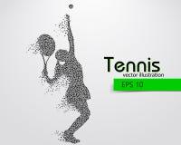 Silhouet van een tennisspeler van driehoeken Royalty-vrije Stock Foto