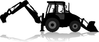 Silhouet van een tractor van de wegdienst in profiel Stock Foto