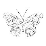 Silhouet van een vlinder Achtergrond van de punten Vector illustratie Royalty-vrije Stock Afbeeldingen