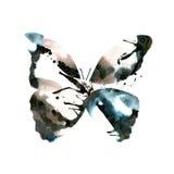 Silhouet van een vlinder met waterverf kleurrijke abstracte rug Stock Afbeelding
