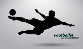 Silhouet van een voetbalster Stock Afbeelding