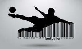 Silhouet van een voetbalster en een streepjescode Stock Afbeeldingen