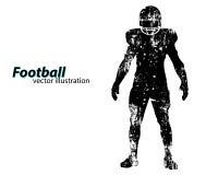Silhouet van een voetbalster rugby Amerikaanse Voetballer Stock Foto's