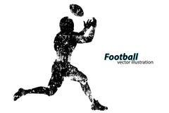 Silhouet van een voetbalster rugby Amerikaanse Voetballer Royalty-vrije Stock Afbeeldingen