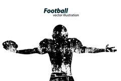 Silhouet van een voetbalster rugby Amerikaanse Voetballer Royalty-vrije Stock Foto