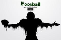 Silhouet van een voetbalster rugby Amerikaanse Voetballer Vector illustratie Stock Afbeelding