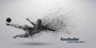 Silhouet van een voetbalster van deeltjes Royalty-vrije Stock Afbeelding