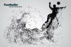 Silhouet van een voetbalster van deeltjes Royalty-vrije Stock Foto