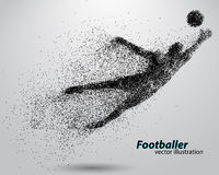 Silhouet van een voetbalster van deeltjes Stock Afbeeldingen