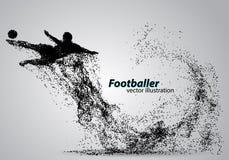 Silhouet van een voetbalster van deeltjes Stock Afbeelding