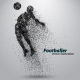 Silhouet van een voetbalster van deeltjes Royalty-vrije Stock Foto's