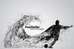 Silhouet van een voetbalster van deeltjes Royalty-vrije Stock Fotografie