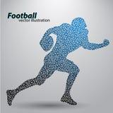 Silhouet van een voetbalster van driehoek rugby Amerikaanse Voetballer Stock Afbeeldingen