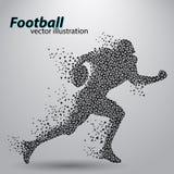 Silhouet van een voetbalster van driehoek rugby Amerikaanse Voetballer Royalty-vrije Stock Foto's