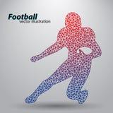 Silhouet van een voetbalster van driehoek rugby Amerikaanse Voetballer Stock Afbeelding