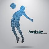 Silhouet van een voetbalster van driehoeken Stock Foto's
