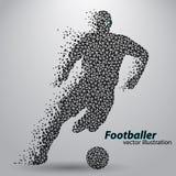 Silhouet van een voetbalster van driehoeken Stock Fotografie