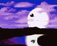 Silhouet van een vogel tegen de achtergrond van de maan stock illustratie