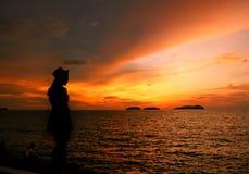 Silhouet van een Vrouw Royalty-vrije Stock Afbeelding