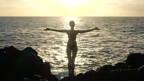 Silhouet van een vrouw bij zonsondergang die golven waarnemen en wapens in de lucht opheffen Cinematic Langzame Motie stock videobeelden